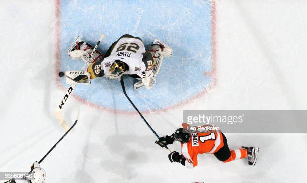 Travis Konecny of the Philadelphia Flyers takes a shot on goal against MarcAndry Fleury of the Vegas Golden Knights on March 12 2018 at the Wells...