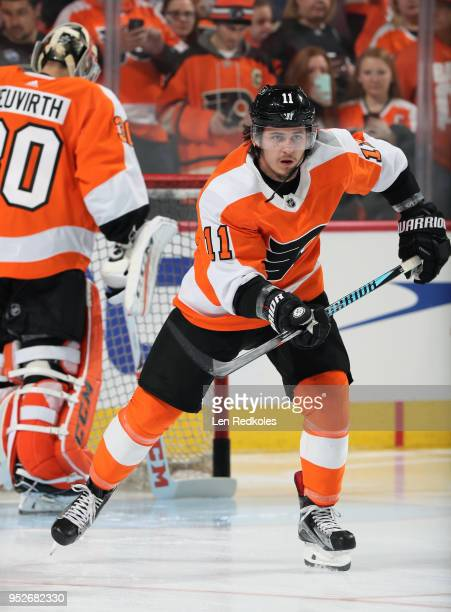 Travis Konecny of the Philadelphia Flyers warms up against the Pittsburgh Penguins in Game Six of the Eastern Conference First Round during the 2018...