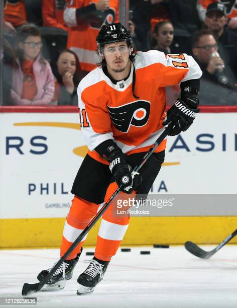 Travis Konecny of the Philadelphia Flyers warms up against the Buffalo Sabres on March 7, 2020 at the Wells Fargo Center in Philadelphia,...