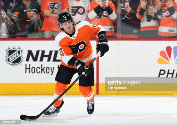 Travis Konecny of the Philadelphia Flyers warms up against the San Jose Sharks on October 9 2018 at the Wells Fargo Center in Philadelphia...