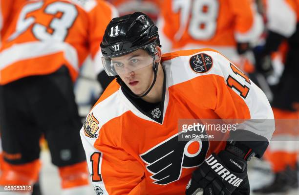 Travis Konecny of the Philadelphia Flyers warms up prior to his game against the Carolina Hurricanes on March 19 2017 at the Wells Fargo Center in...