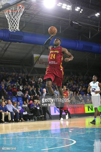 Travis Leslie of the Fort Wayne Mad Ants dunks against the Greensboro Swarm during the game at the The Field House at the Greensboro Complex on...