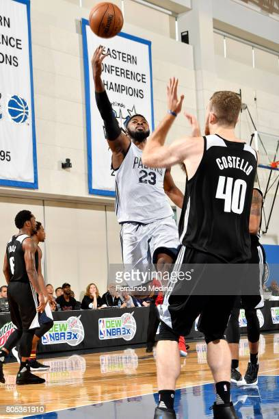 Travis Leslie of the Indiana Pacers shoots a lay up during the game against the Orlando Magic during the 2017 Orlando Summer League on July 1 2017 at...