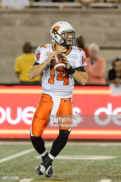 Travis Lulay of the BC Lions looks to pass the ball during the CFL game against the Montreal Alouettes at Percival Molson Stadium on September 3 2015...