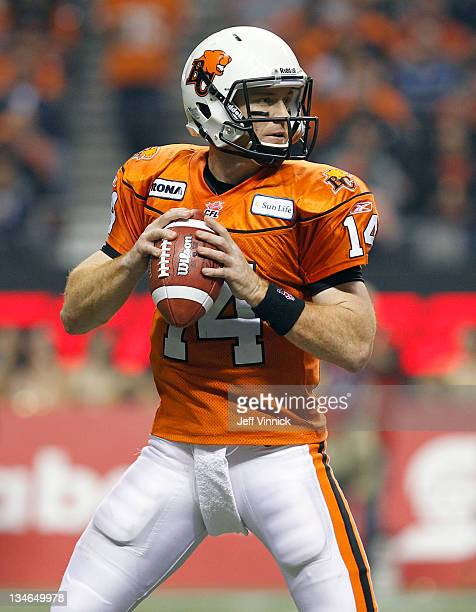 Travis Lulay of the BC Lions looks to throw a pass during the CFL 99th Grey Cup against the Winnipeg Blue Bombers November 27 2011 at BC Place in...