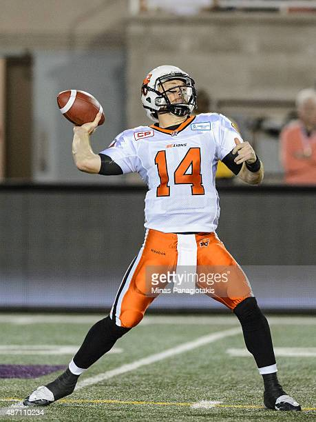 Travis Lulay of the BC Lions prepares to throw the ball during the CFL game against the Montreal Alouettes at Percival Molson Stadium on September 3...