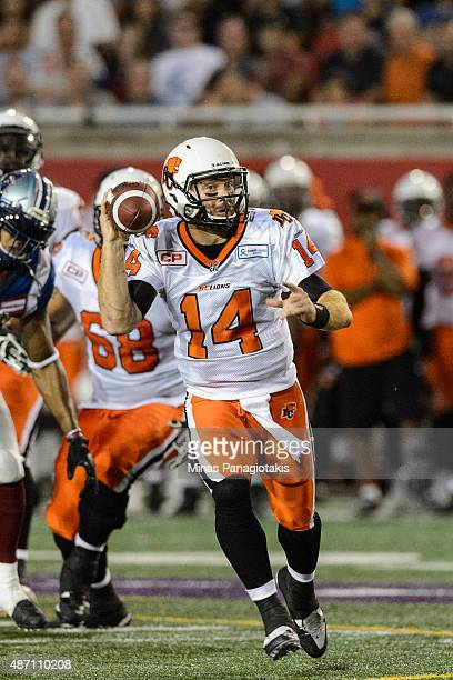 Travis Lulay of the BC Lions runs with the ball during the CFL game against the Montreal Alouettes at Percival Molson Stadium on September 3 2015 in...