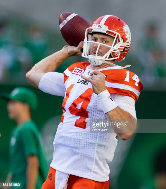Travis Lulay of the BC Lions throws a pass during pregame warmup for the game between the BC Lions and the Saskatchewan Roughriders at Mosaic Stadium...