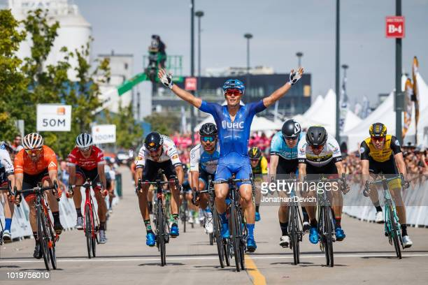 Gavin Mannion of the United States and the UnitedHealthcare Pro Cycling Team sits in the overall leaders jersey before starting stage 4 of the...