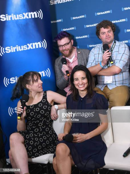 Travis McElroy Jordan Morris Eliza Skinner and Alison Becker attend SiriusXM's Entertainment Weekly Radio Broadcasts Live From Comic Con in San Diego...