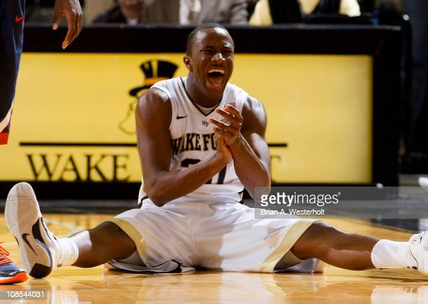 Travis McKie of the Wake Forest Demon Deacons reacts after having caused a jump ball during second half action against the Virginia Cavaliers at the...