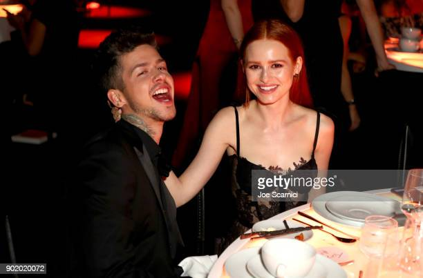 Travis Mill and Madelaine Petsch attends the Moet Hennessy John Legend's HEAVEN with the Art of Elysium at Barker Hangar on January 6 2018 in Santa...