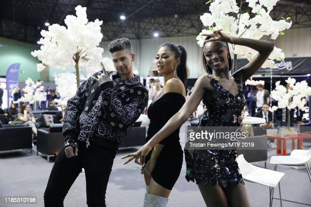 Travis Mill Nicole Scherzinger and Leomie Anderson backstage during the MTV EMAs 2019 at FIBES Conference and Exhibition Centre on November 03 2019...