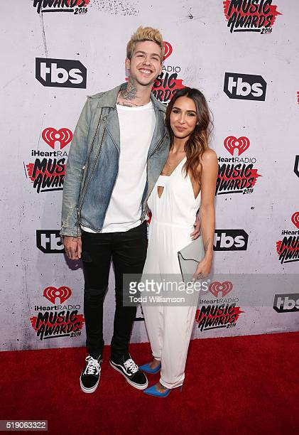 Travis Mills and Michele Maturo attend the iHeartRadio Music Awards at the Forum on April 3 2016 in Inglewood California