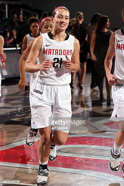 Travis Newman of the CSUN Matadors smiles as she jogs to the locker room after the victory against the UC Santa Barbara Gauchos at The Matadome on...
