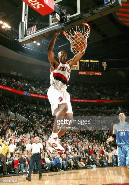 Travis Outlaw of the Portland Trail Blazers dunks during a game against the Denver Nuggets at the Rose Garden Arena on February 4 2008 in Portland...