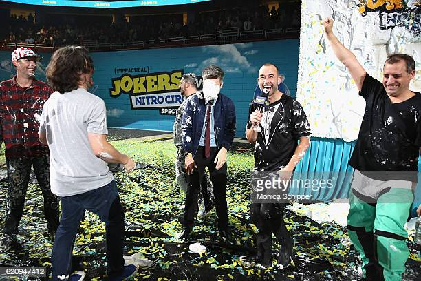 Travis Pastrana Brian Quinn Casey Jost James Murray and Joe Gatto speaks during the Impractical Jokers Live Nitro Circus Spectacular at Prudential...