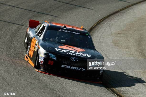 Travis Pastrana drives the Boost Mobile Toyota during practice for the NASCAR Nationwide Series Virginia 529 College Savings 250 at Richmond...