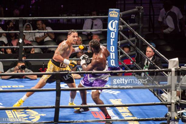 """Travis Peterkin and Lenin Castillo fight to a Draw during their Light Heavyweight fight """"nBarclay Center, Brooklyn on August 1st, 2015 in Brooklyn."""