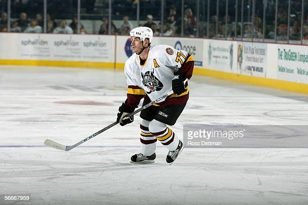 Travis Roche of the Chicago Wolves skates against the Peoria Rivermen at Allstate Arena on December 11 2005 in Rosemont Illinois The Wolves won 41