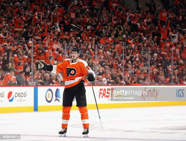 Travis Sanheim of the Philadelphia Flyers celebrates his goal against the Pittsburgh Penguins at 1342 of the second period in Game Three of the...