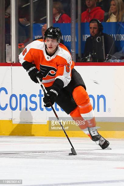 Travis Sanheim of the Philadelphia Flyers controls the puck against the Washington Capitals at the Wells Fargo Center on January 8, 2020 in...