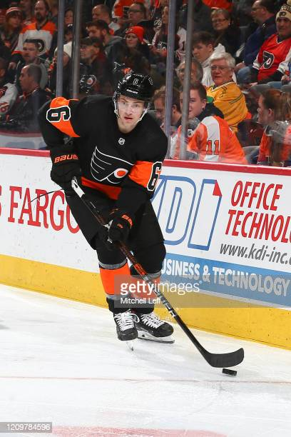 Travis Sanheim of the Philadelphia Flyers controls the puck against the New York Rangers at the Wells Fargo Center on February 28, 2020 in...