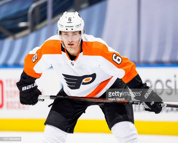 Travis Sanheim of the Philadelphia Flyers gets ready for a face-off against the Boston Bruins during the second period in a Round Robin game during...