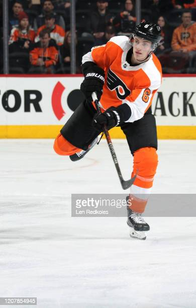 Travis Sanheim of the Philadelphia Flyers in action against the Columbus Blue Jackets on February 18, 2020 at the Wells Fargo Center in Philadelphia,...