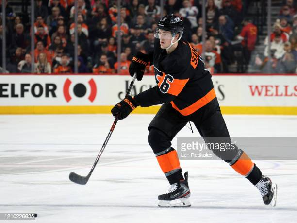Travis Sanheim of the Philadelphia Flyers passes the puck against the New York Rangers on February 28, 2020 at the Wells Fargo Center in...