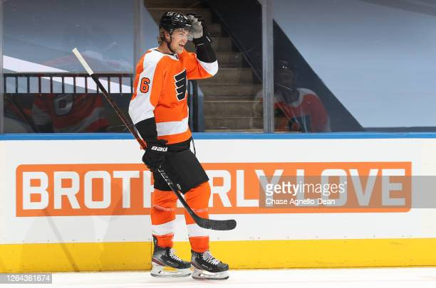 Travis Sanheim of the Philadelphia Flyers reacts after scoring a goal in the second period of a Round Robin game against the Washington Capitals...