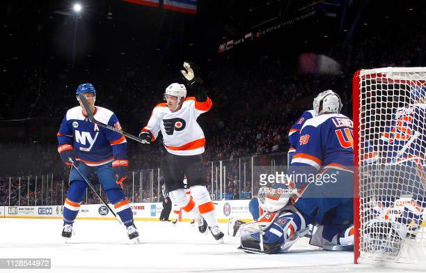 Travis Sanheim of the Philadelphia Flyers scores a goal past Robin Lehner of the New York Islanders during the first period at NYCB Live's Nassau...