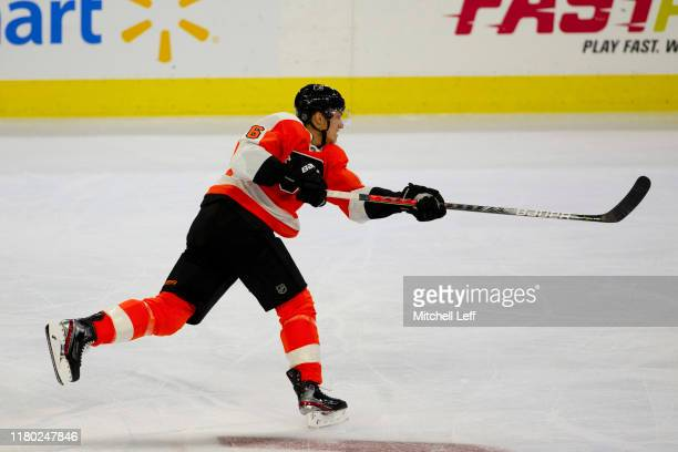 Travis Sanheim of the Philadelphia Flyers shoots the puck against the New Jersey Devils at the Wells Fargo Center on October 9, 2019 in Philadelphia,...