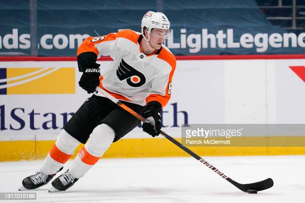 Travis Sanheim of the Philadelphia Flyers skates against the Washington Capitals in the first period at Capital One Arena on May 07, 2021 in...