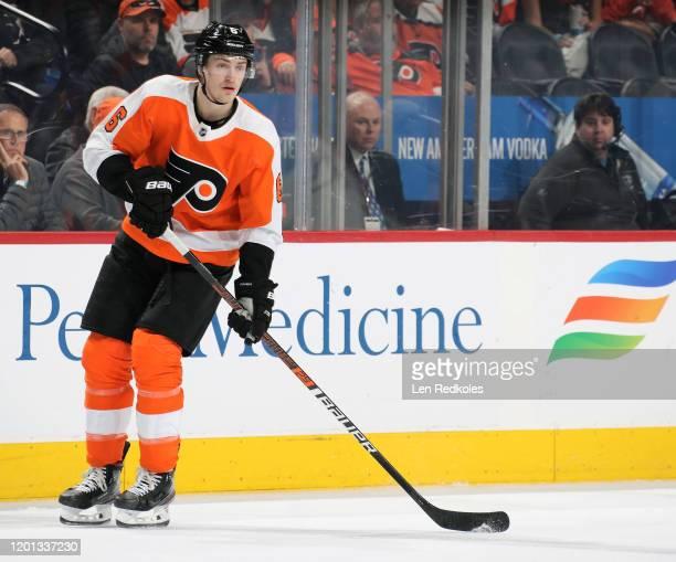 Travis Sanheim of the Philadelphia Flyers skates against the Montreal Canadiens on January 16, 2020 at the Wells Fargo Center in Philadelphia,...