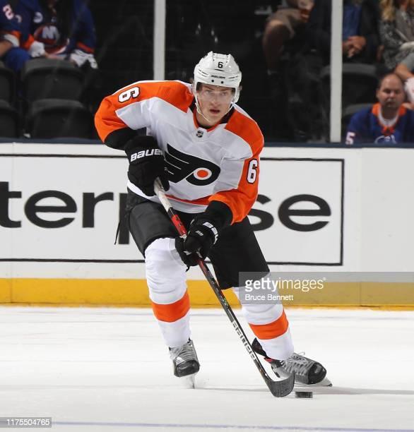 Travis Sanheim of the Philadelphia Flyers skates against the New York Islanders at the Nassau Veterans Memorial Coliseum on September 17, 2019 in...