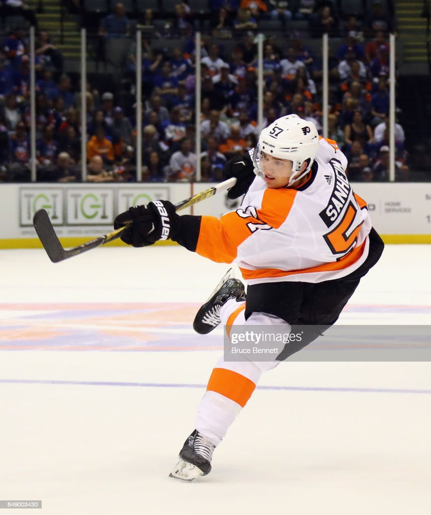 Travis Sanheim #57 of the Philadelphia Flyers skates against the New York Islanders during a preseason game at the Nassau Veterans Memorial Coliseum on September 17, 2017 in Uniondale, New York. The Islanders defeated the Flyers 3-2 in overtime.