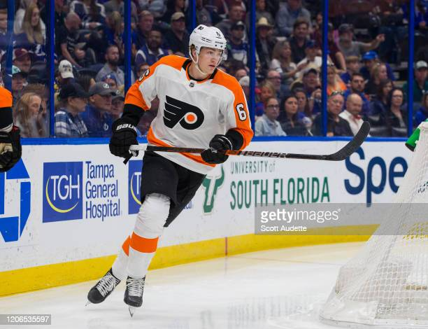 Travis Sanheim of the Philadelphia Flyers skates against the Tampa Bay Lightning at Amalie Arena on February 15, 2020 in Tampa, Florida.
