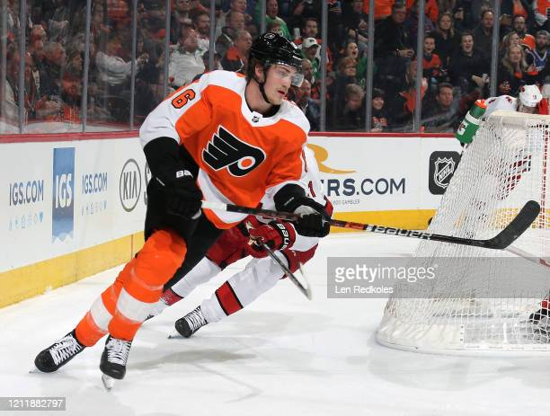 Travis Sanheim of the Philadelphia Flyers skates around the net against the Carolina Hurricanes on March 5, 2020 at the Wells Fargo Center in...