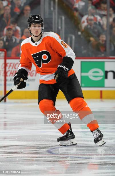Travis Sanheim of the Philadelphia Flyers skates back on defense against the Washington Capitals on March 14, 2019 at the Wells Fargo Center in...