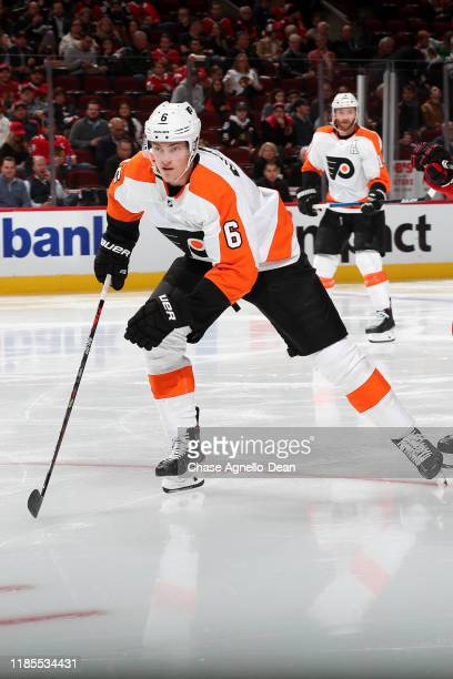 Travis Sanheim of the Philadelphia Flyers skates in the second period against the Chicago Blackhawks at the United Center on October 24, 2019 in...