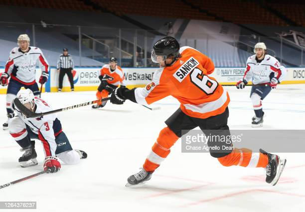 Travis Sanheim of the Philadelphia Flyers skates in the second period of a Round Robin game during the 2020 NHL Stanley Cup Playoff at Scotiabank...