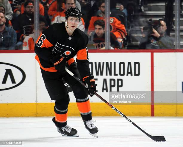 Travis Sanheim of the Philadelphia Flyers skates the puck against the Colorado Avalanche on February 1, 2020 at the Wells Fargo Center in...