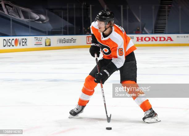 Travis Sanheim of the Philadelphia Flyers skates the puck to the net in the second period of Game Two of the Eastern Conference Second Round of the...