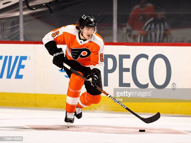 Travis Sanheim of the Philadelphia Flyers take the puck in the first period against the New York Islanders at Wells Fargo Center on January 30, 2021...