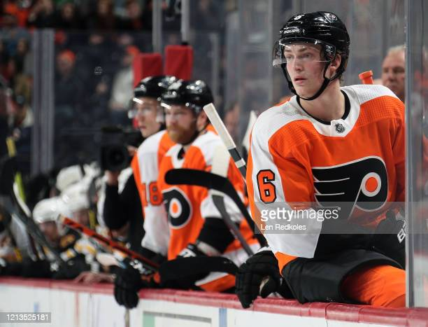 Travis Sanheim of the Philadelphia Flyers watches the play on the ice against the Boston Bruins on March 10 2020 at the Wells Fargo Center in...