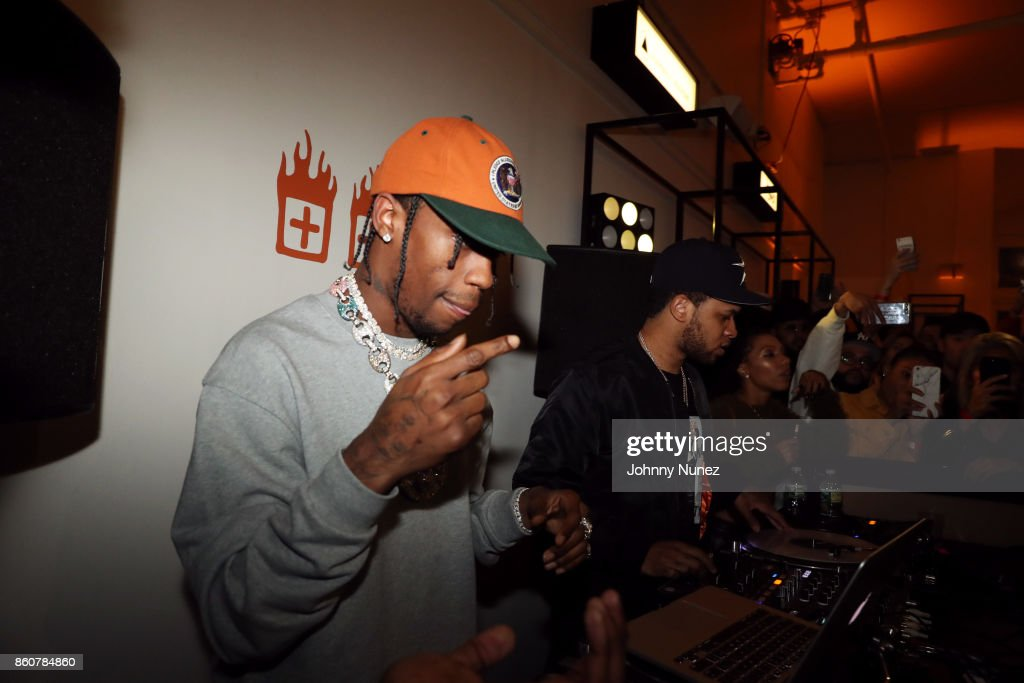 Travis Scott (L) and Chase B attend the Ksubi and Travis Scott Collaboration Launch on October 12, 2017 in New York City.