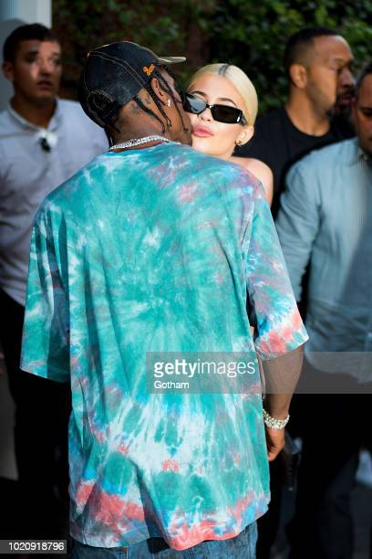 Travis Scott and Kylie Jenner are seen in SoHo on August 21 2018 in New York City