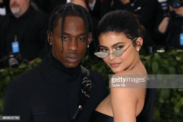 Travis Scott and Kylie Jenner attend Heavenly Bodies Fashion the Catholic Imagination the 2018 Costume Institute Benefit at Metropolitan Museum of...