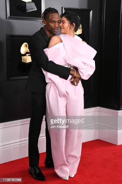 Travis Scott and Kylie Jenner attend the 61st Annual GRAMMY Awards at Staples Center on February 10 2019 in Los Angeles California